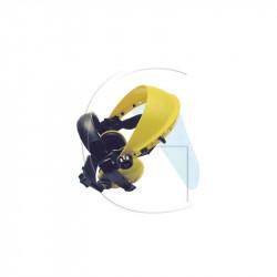 Visière polycarbonate avec casque anti bruit pour travaux extérieur