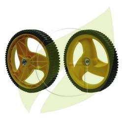 Roue de tondeuse MC CULLOCH Largeur : 45 mm - Diamètre Axe : 12,9 mm - Diamètre : 293 mm